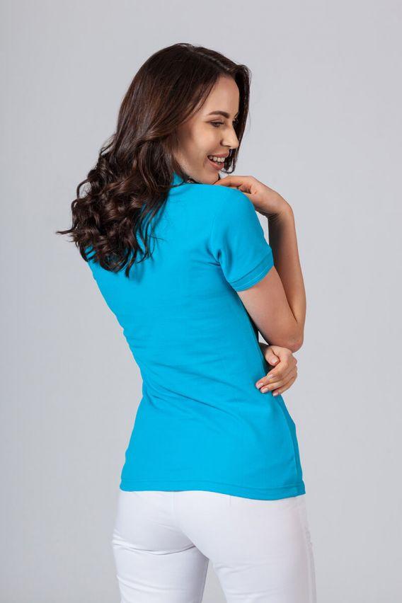 polo-damskie Koszulka damska Polo turkusowa