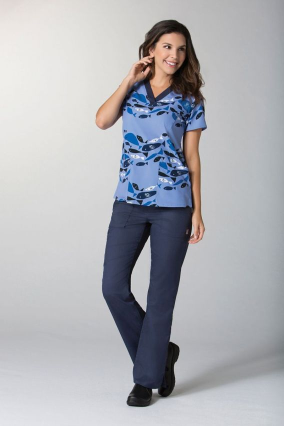 bluzy-medyczne-damskie Kolorowa bluza damska Maevn Prints Rybki