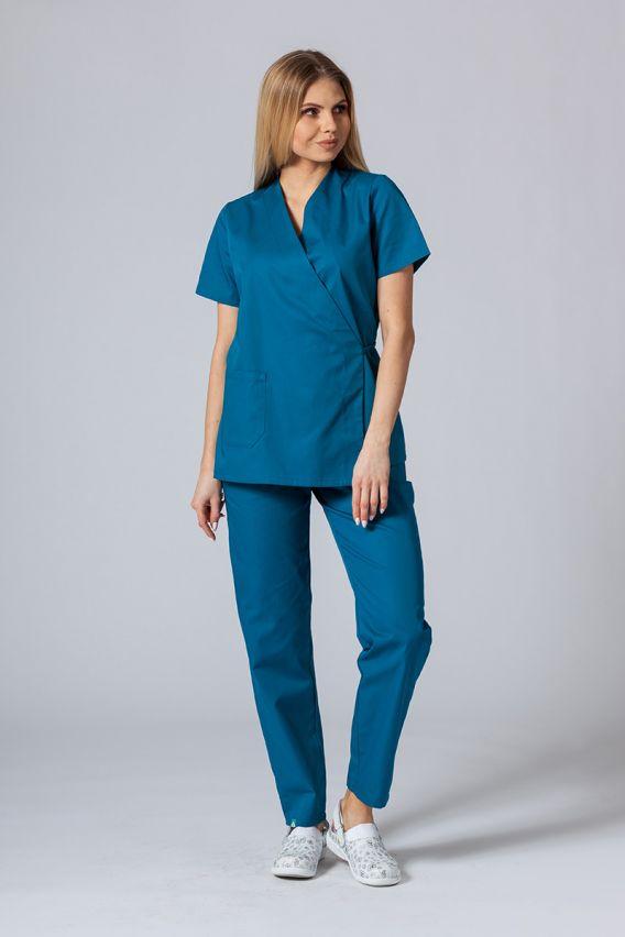 bluzy-medyczne-damskie Fartuszek/bluza damska wiązana Sunrise Uniforms karaibski błękit
