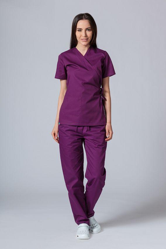 bluzy-medyczne-damskie Fartuszek/bluza damska wiązana Sunrise Uniforms oberżyna