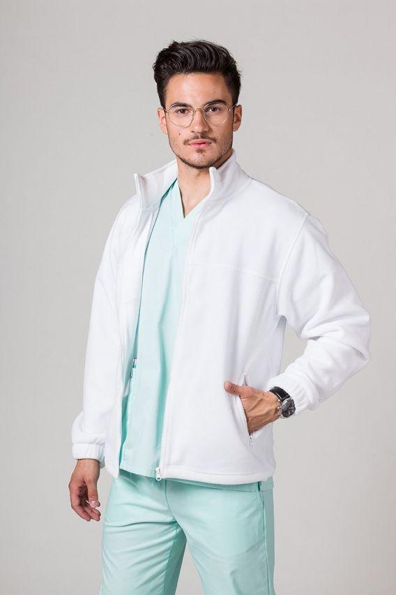 bluzy-polarowe-meskie Bluza polarowa męska biała