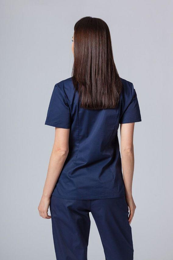 bluzy-medyczne-damskie Bluza medyczna damska Sunrise Uniforms ciemny granat taliowana