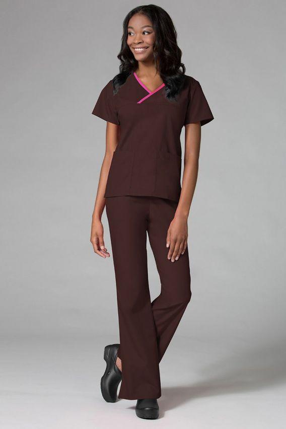 bluzy-medyczne-damskie Bluza damska Maevn Core brązowa z różową lamówką