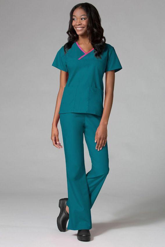 bluzy-medyczne-damskie Bluza damska Maevn Core morski błękit z różową lamówką