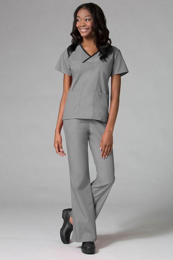 bluzy-medyczne-damskie Bluza damska Maevn Core szara z czarną lamówką