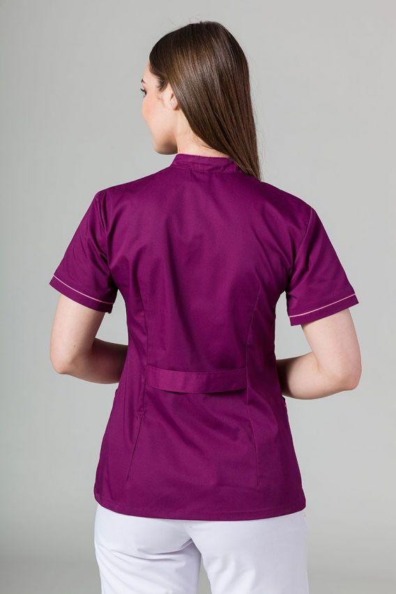 zakiety Żakiet ze stójką Sunrise Uniforms oberżyna z różową lamówką