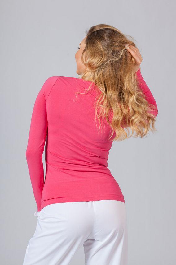 koszulki-medyczne-damskie Koszulka damska z długim rękawem malinowa