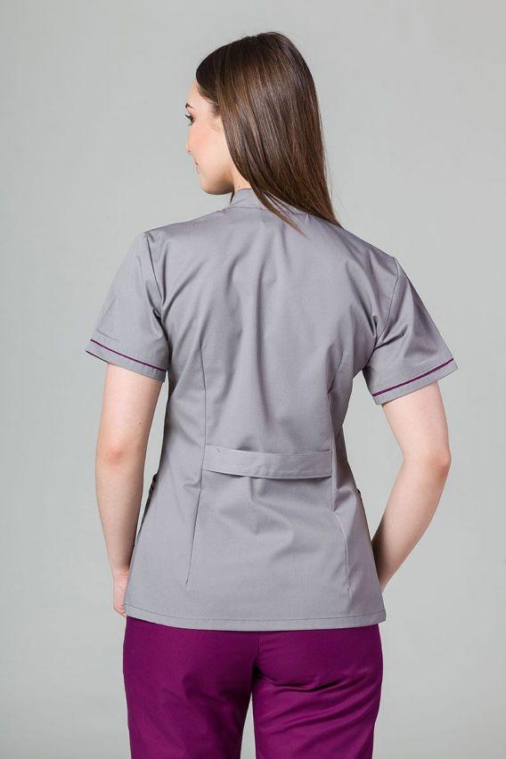 zakiety Żakiet ze stójką Sunrise Uniforms szary z oberżynową lamówką
