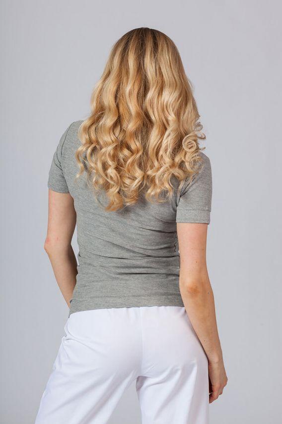 polo-damskie Koszulka damska Polo ciemnoszary melanż