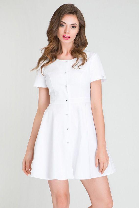 sukienki Sukienka medyczna z baskinką Vena biała