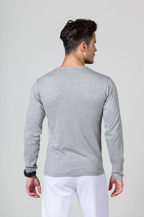 koszulki-medyczne-meskie Koszulka męska z długim rękawem ciemnoszary melanż