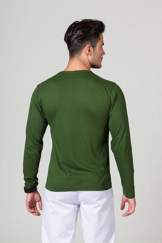 koszulki-medyczne-meskie Koszulka męska z długim rękawem butelkowa zieleń