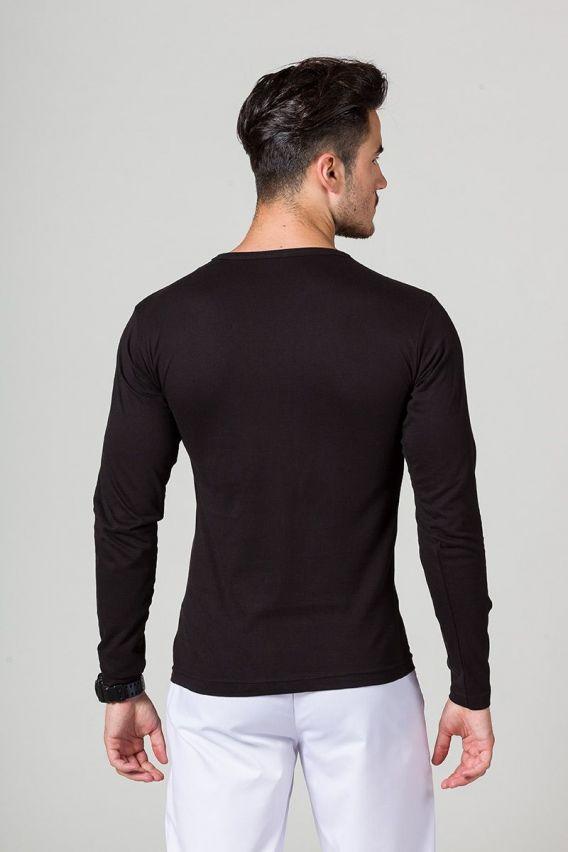 koszulki-medyczne-meskie Koszulka męska z długim rękawem czarna