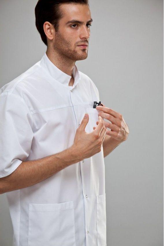 bluzy-medyczne-meskie Bluza medyczna męska z krótkim rękawem biała