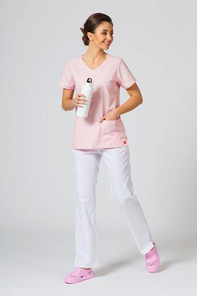 bluzy-medyczne-damskie Bluza damska Maevn Red Panda Asymetric jasnoróżowa