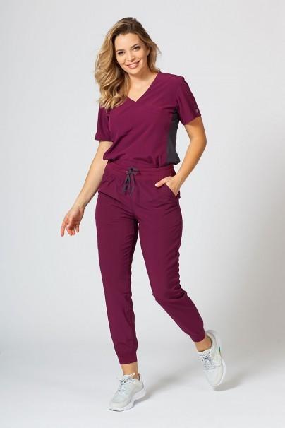 bluzy-medyczne-damskie Bluza damska Maevn Matrix Impulse Asymetric wiśniowa