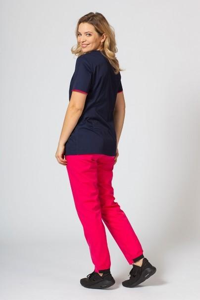 bluzy-medyczne-damskie Bluza medyczna damska na zamek Sunrise Uniforms ciemny granat/malina