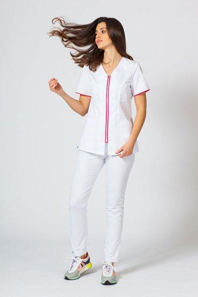 bluzy-medyczne-damskie Bluza medyczna damska na zamek Sunrise Uniforms biały/malina
