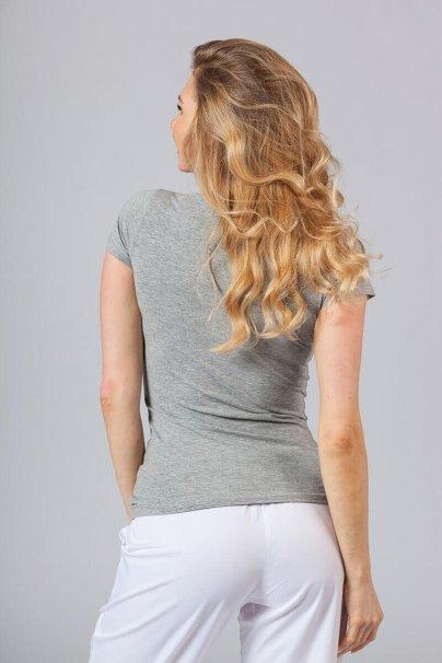 koszulki-medyczne-damskie Koszulka damska z krótkim rękawem ciemnoszary melanż