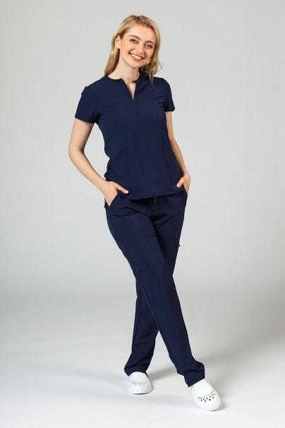 bluzy-medyczne-damskie Bluza damska Adar Uniforms Notched ciemny granat