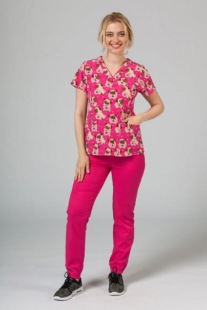 bluzy-we-wzory Kolorowa bluza damska Maevn Prints mopsy
