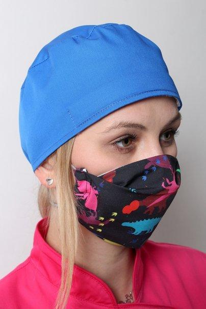 maski-ochronne Maska ochronna wielokrotnego użytku z jonami srebra, 2-warstwowa, 100% bawełna, wzór: dinozaury