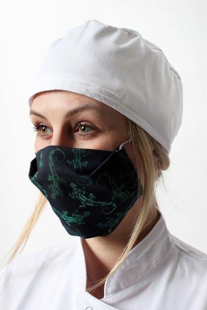 maski-ochronne Maska ochronna wielokrotnego użytku z jonami srebra, 2-warstwowa, 100% bawełna, wzór: zielone jaszczurki