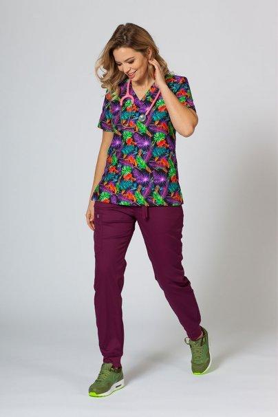 bluzy-we-wzory Kolorowa bluza medyczna damska Sunrise Uniforms kolorowe liście