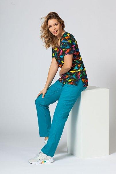 bluzy-we-wzory Kolorowa bluza medyczna damska Sunrise Uniforms dinozaury