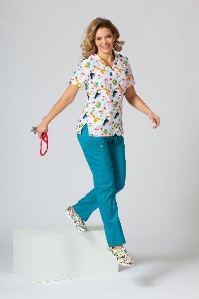 bluzy-we-wzory Kolorowa bluza medyczna damska Sunrise Uniforms flamingi, papugi i tukany