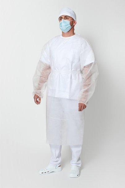 jednorazowe Certyfikowany fartuch ochronny jednorazowy z flizeliny 30g/m2, biały, rozmiar uniwersalny