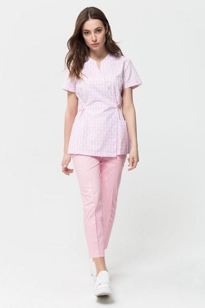 bluzy-medyczne-damskie Fartuszek medyczny wiązany Vena Kate biały - print medium