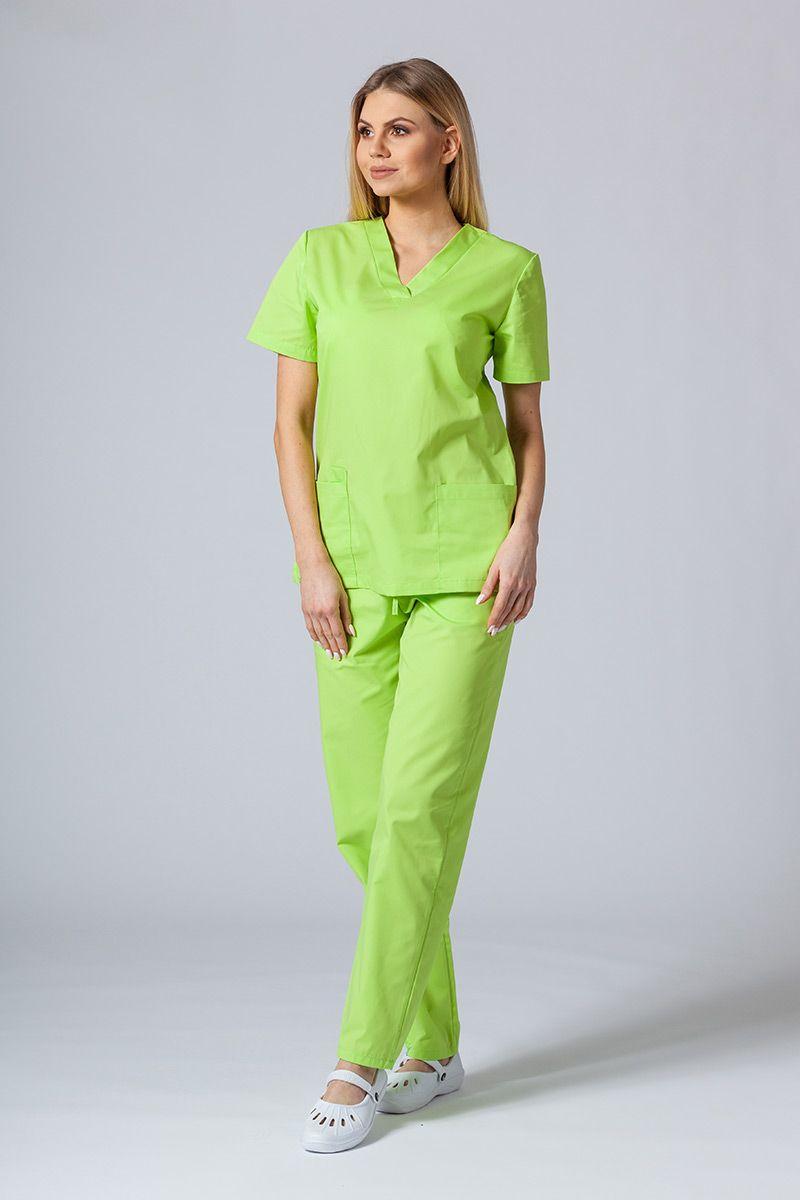 Komplet medyczny Sunrise Uniforms limonkowy  (z bluzą taliowaną)