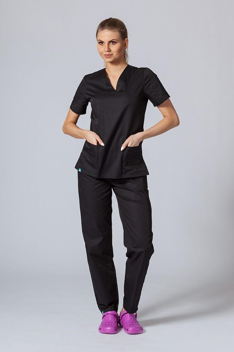 Komplet medyczny Sunrise Uniforms czarny (z bluzą taliowaną)