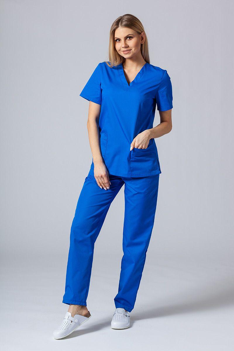 Komplet medyczny Sunrise Uniforms królewski granat (z bluzą taliowaną)