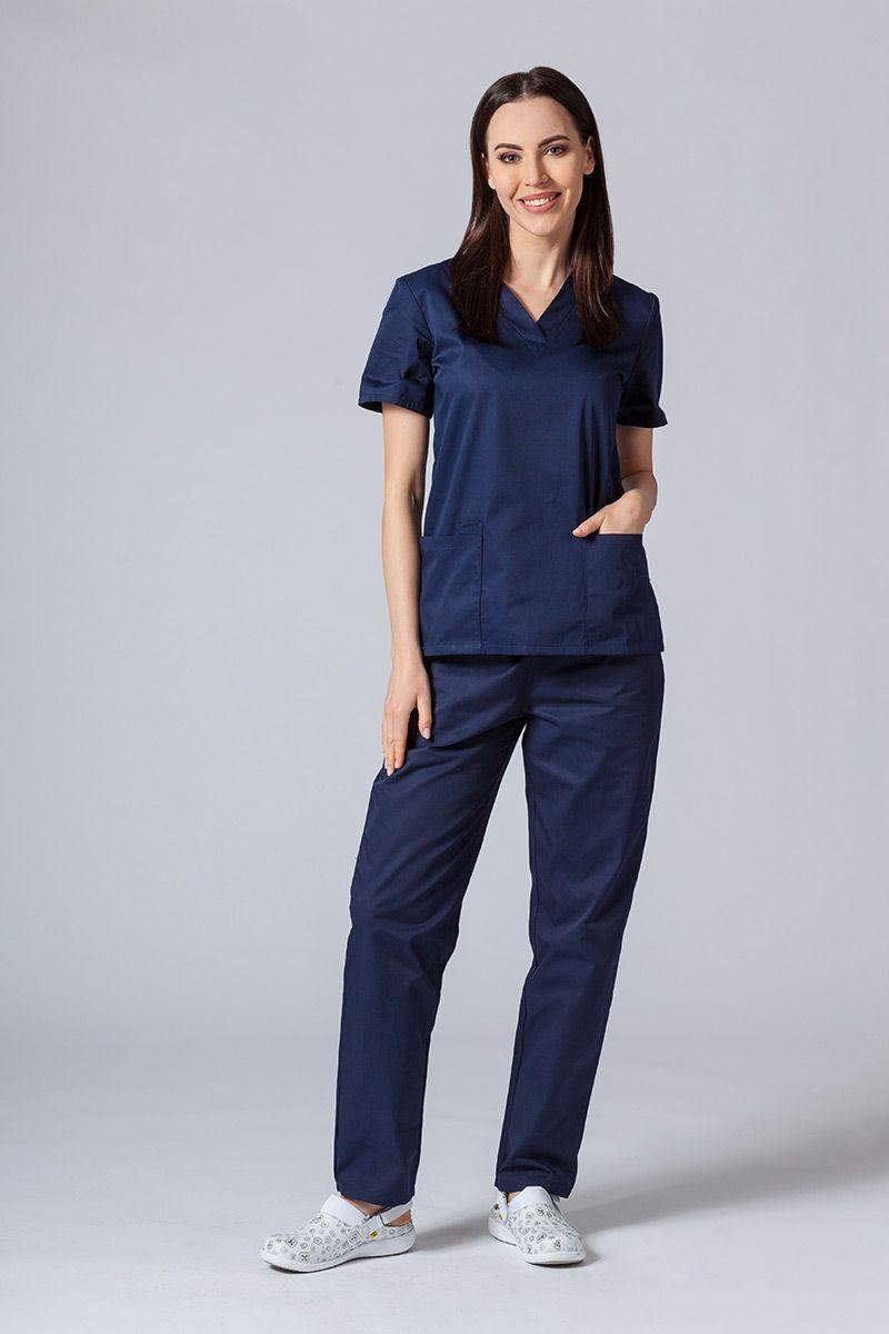 Komplet medyczny Sunrise Uniforms ciemny granat (z bluzą taliowaną)
