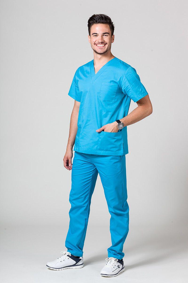 Komplet medyczny męski Sunrise Uniforms turkusowy (z bluzą uniwersalną)