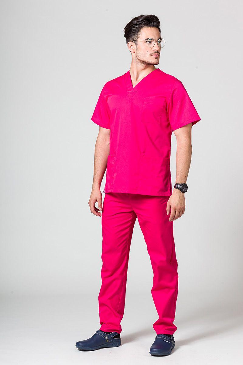 Komplet medyczny męski Sunrise Uniforms malinowy (z bluzą uniwersalną)