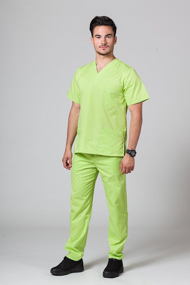 Komplet medyczny męski Sunrise Uniforms limonkowy (z bluzą uniwersalną)