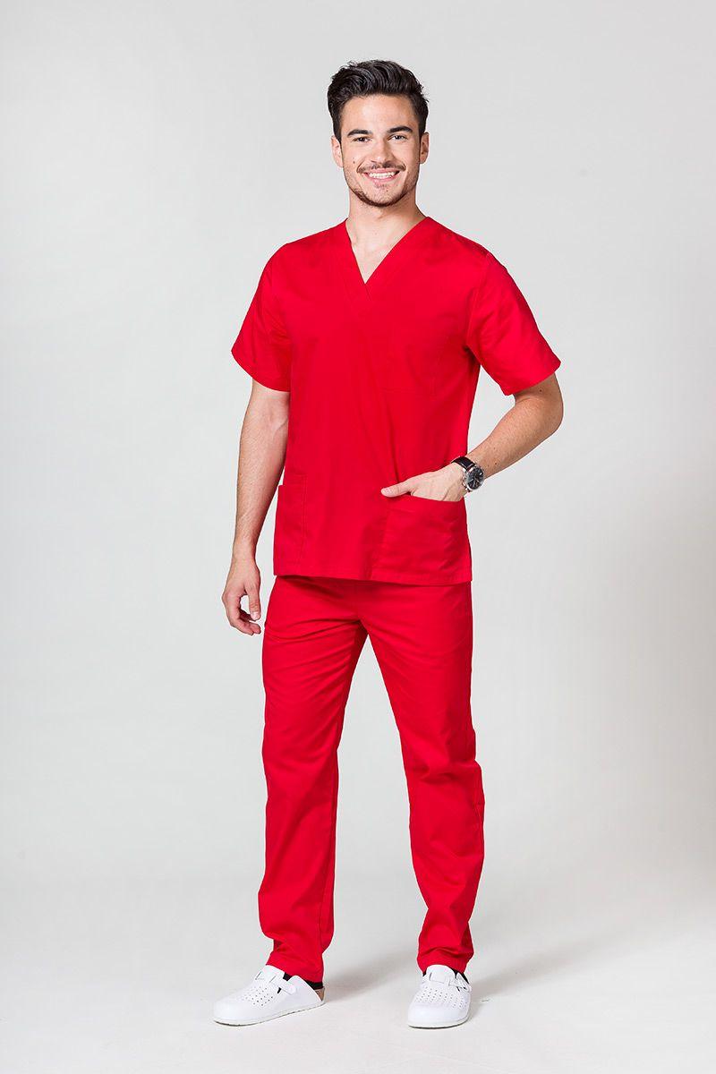 Komplet medyczny męski Sunrise Uniforms czerwony (z bluzą uniwersalną)