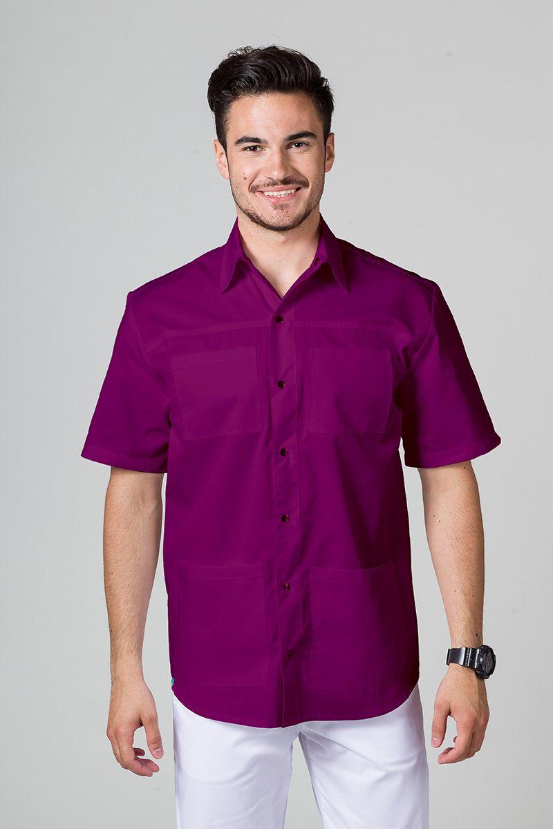 Klasyczna bluza medyczna męska oberżyna