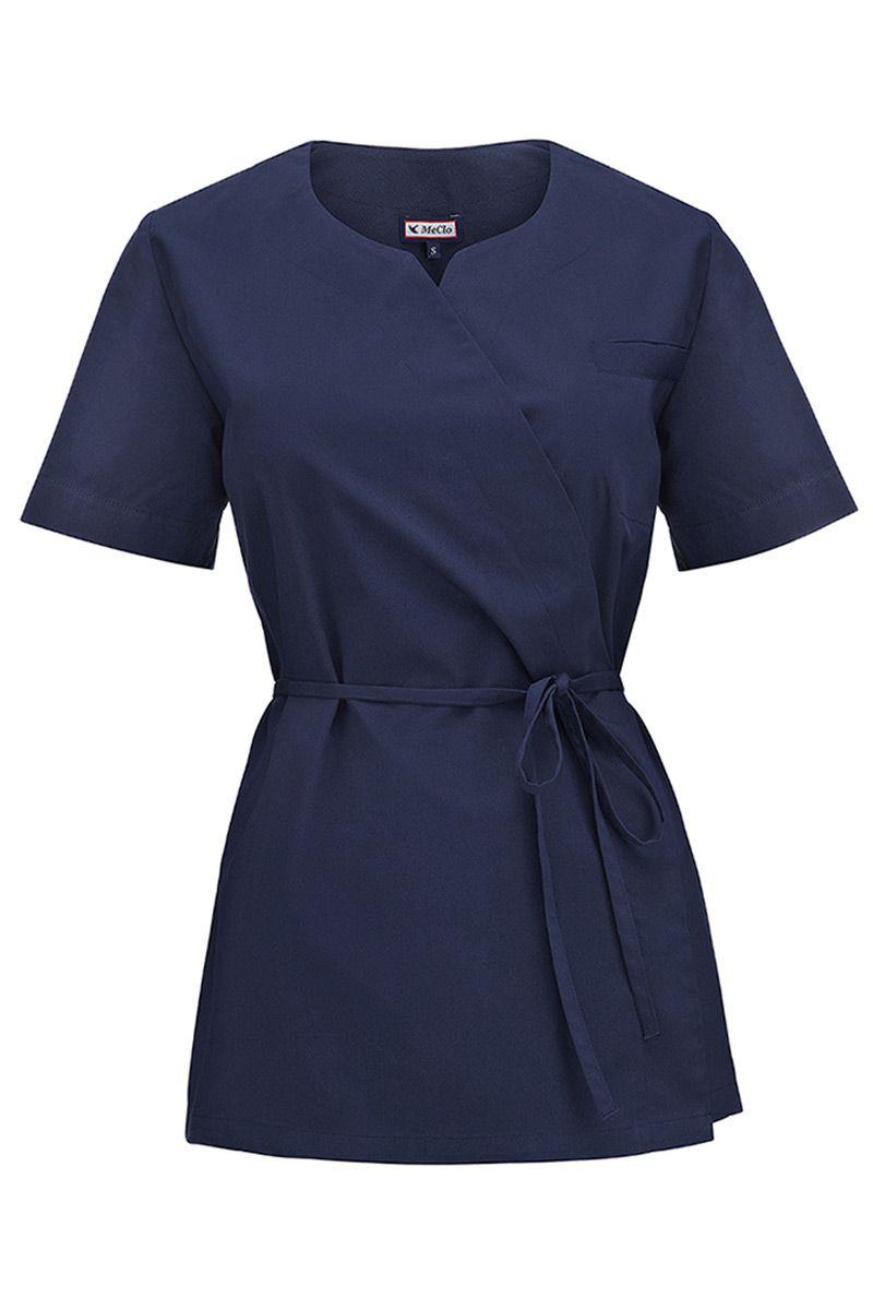 Bluza medyczna damska na wiązanie MeClo granatowa