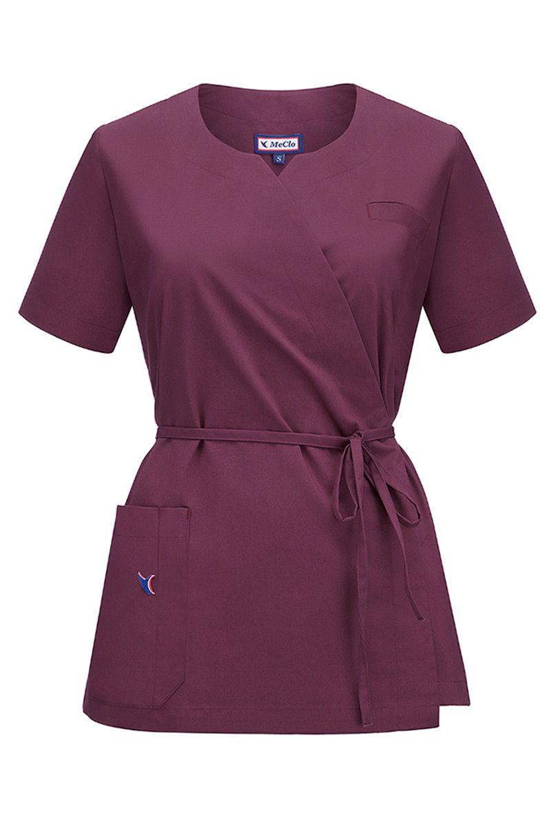 Bluza medyczna damska na wiązanie MeClo wiśniowa