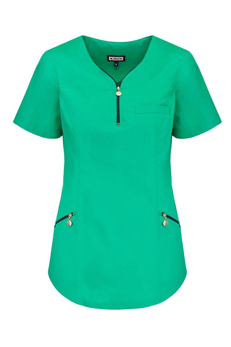 Bluza medyczna damska dekolt na zamek MeClo zielona + granat