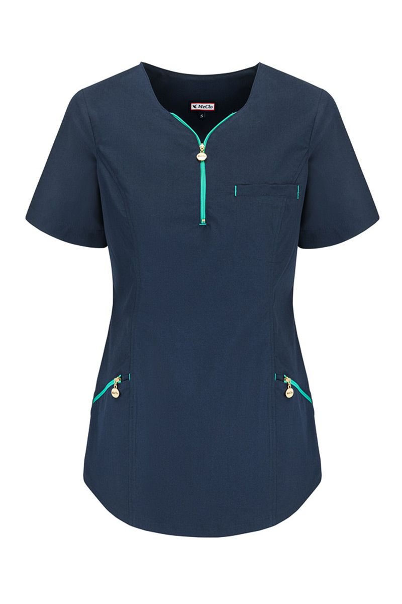 Bluza medyczna damska dekolt na zamek MeClo granatowa + zieleń