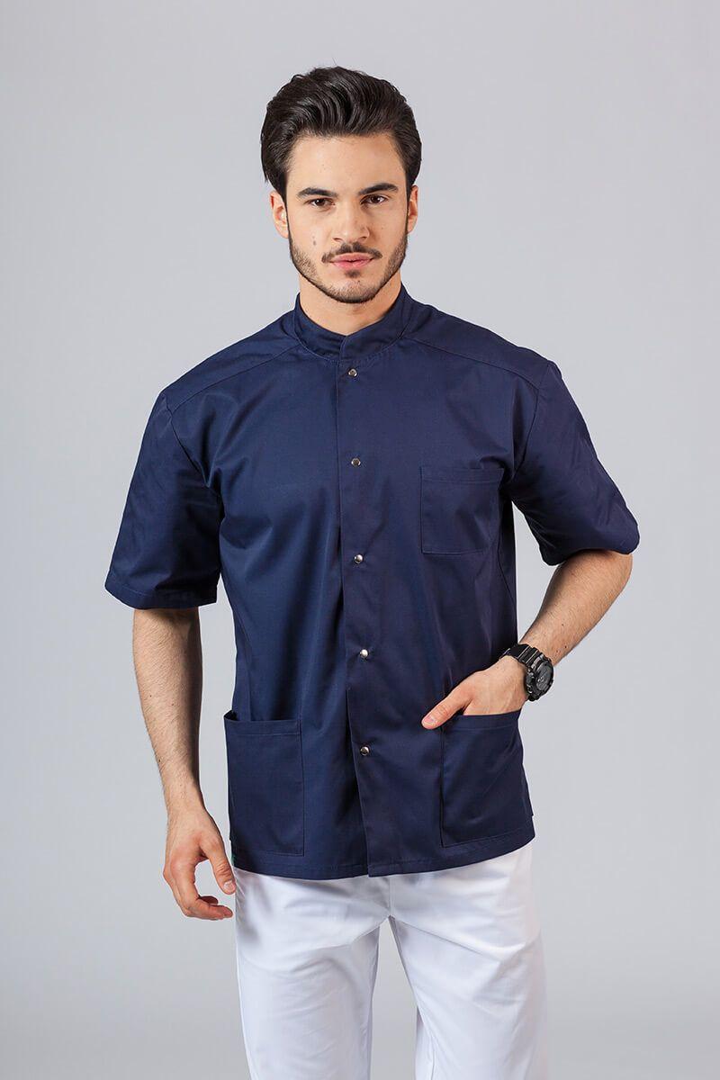 Koszula/bluza medyczna męska ze stójką ciemny granat