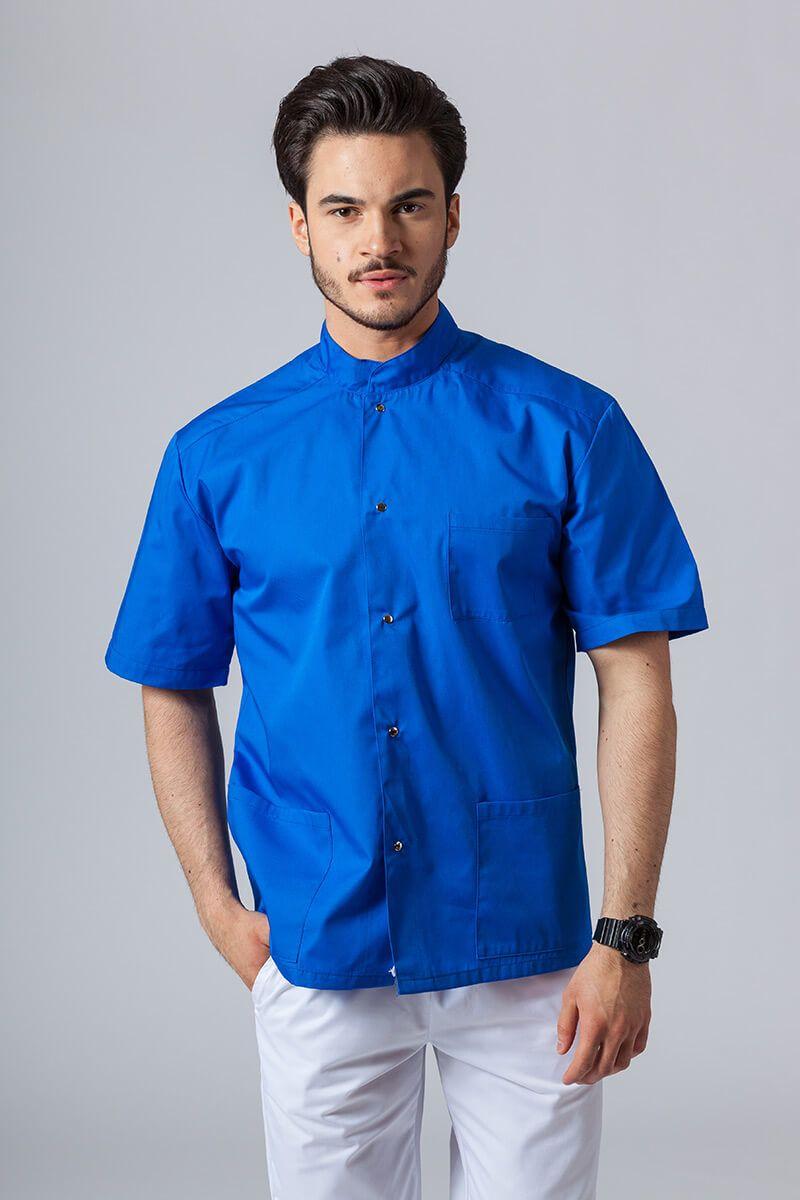 Koszula/bluza medyczna męska ze stójką królewski granat