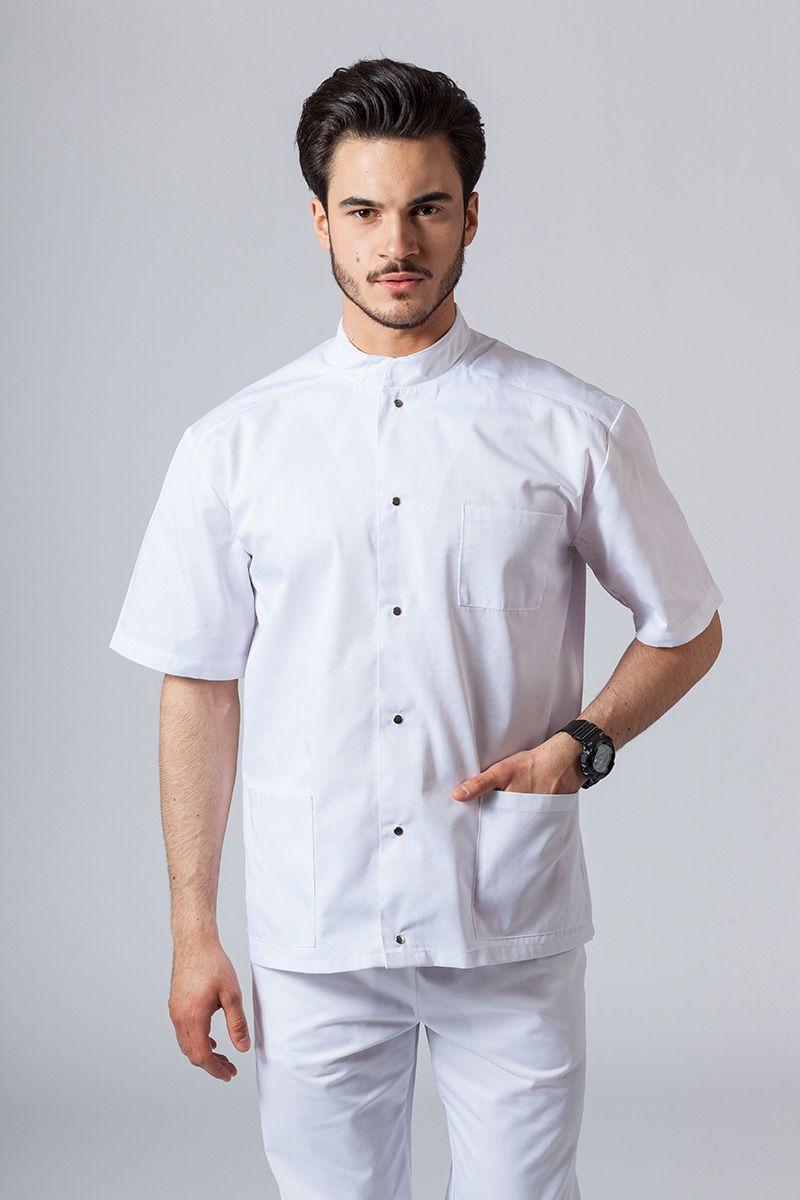 Koszula/bluza medyczna męska ze stójką biała
