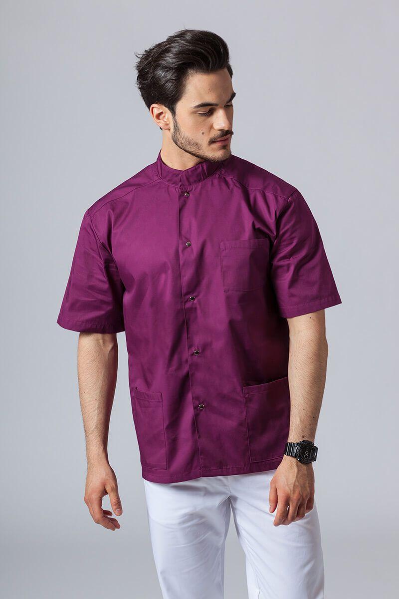 Koszula/bluza medyczna męska ze stójką oberżyna
