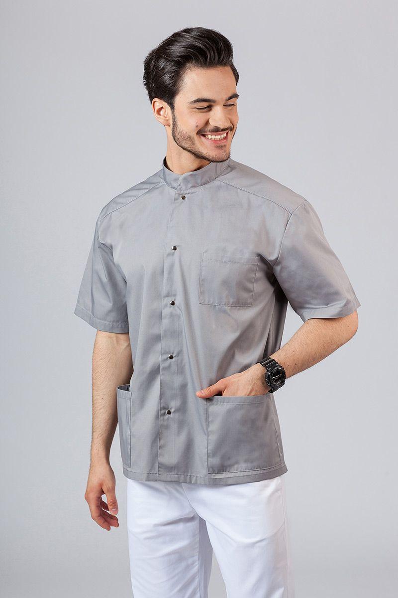 Koszula/bluza medyczna męska ze stójką szara